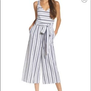 Chelsea28 striped culotte jumpsuit, 8p